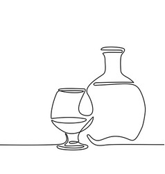 Cognac bottle and glass isolated vector