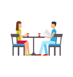 couple dining restaurant people sitting by table vector image