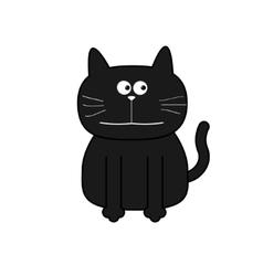 Cute contour cat Flat design White background vector image