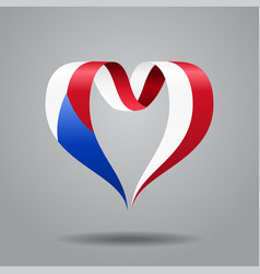 czech flag heart-shaped ribbon vector image