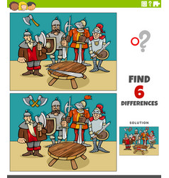 Differences educational game with knight vector
