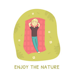 Enjoy nature guy lying on green grass in park vector