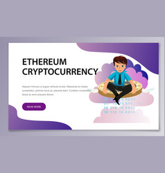 ether cryptocoin mining flat poster vector image