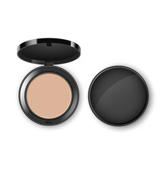 face cosmetic makeup powder in plastic case vector image