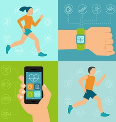 fitness icons and in flat style vector image