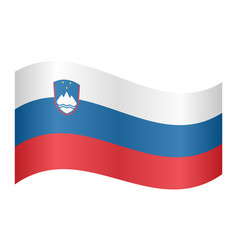 flag of slovenia waving on white background vector image