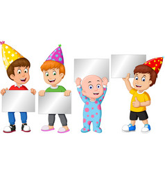 funnt four little boys wearing birthday hat with vector image