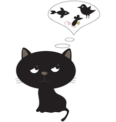 Funny black cat vector
