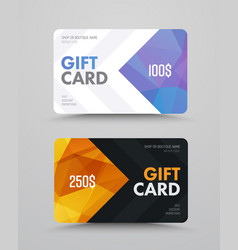 Gift card design with polygonal abstract elements vector