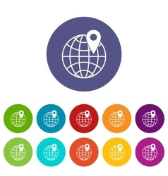 Globe with pin set icons vector image
