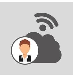 guy cartoon wifi cloud connection vector image