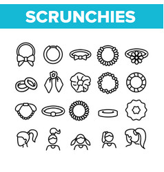 Hair scrunchies bands collection icons set vector