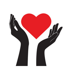 Hands holding heart love sign vector