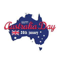 happy australia day 26 january festive with flag vector image