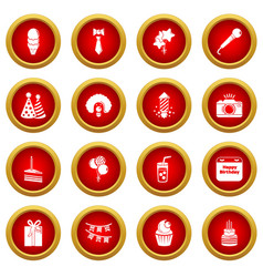 happy birthday icons set simple style vector image