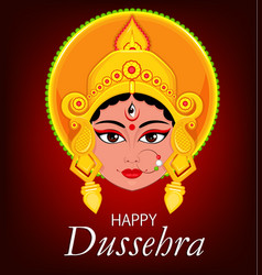 happy dussehra greeting card maa durga face for vector image