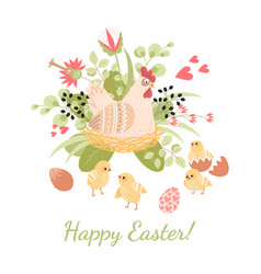 happy easter card with cute hen chickens and eggs vector image