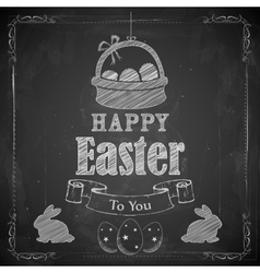 Happy Easter on chalkboard vector image