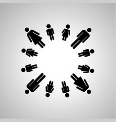 happy family people silhouettes arranged in round vector image