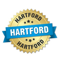 Hartford round golden badge with blue ribbon vector