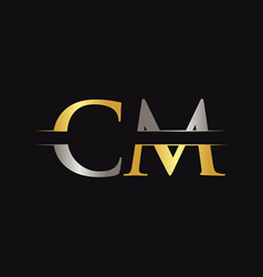 initial cm letter logo with creative modern vector image