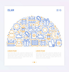 Islamic concept in half circle vector