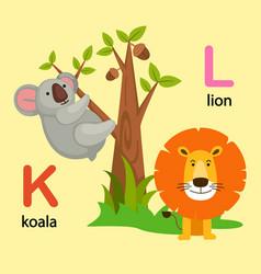 Isolated alphabet letter k-koala l-lion vector