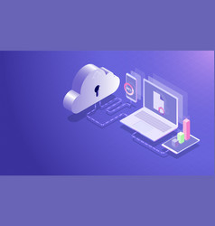 isometric cloud data storage center and cloud vector image