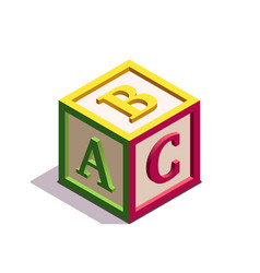Isometric kids block with letters abc on its sides vector