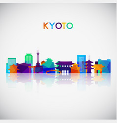 Kyoto skyline silhouette in colorful geometric vector