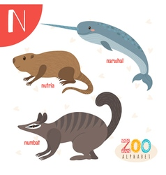 Letter N Cute animals Funny cartoon animals in vector image