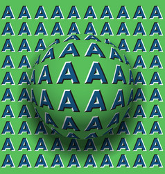 letters a patterned sphere rolling along same vector image