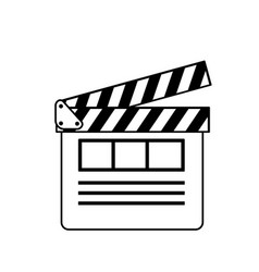 Line clapperboard to short film projection studio vector