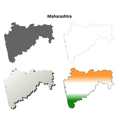 Maharashtra blank detailed outline map set vector