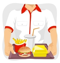 Male fast food restaurant employee holding tray vector