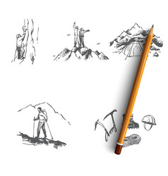 mountaineering - sportsmen climbing mountainst vector image