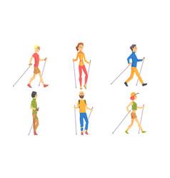 Nordic walking set people outdoor activity vector