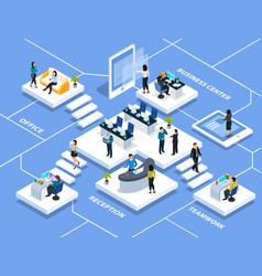 office people isometric composition vector image