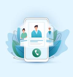 Online medical consultation flat concept vector
