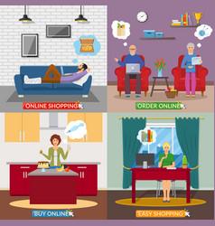 Online shopping 2x2 flat design concept vector
