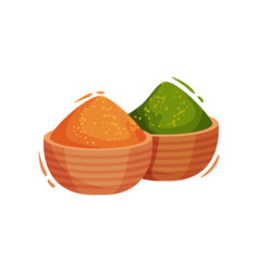 Oriental spices in wooden bowls vector