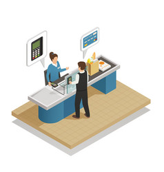 Payment methods cash isometric composition vector