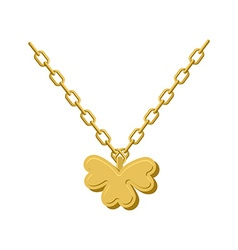 Pendant golden clover gold chain and pendant vector