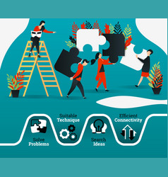people are practicing teamwork leadership by vector image