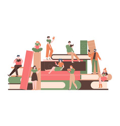 people with books reading characters on big books vector image