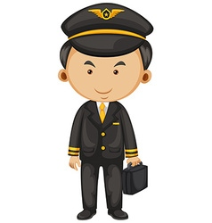 Pilot in black suit and briefcase vector