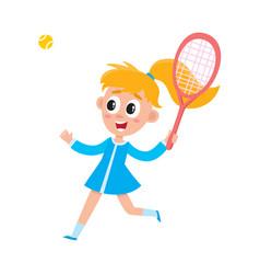 Pretty girl in summer dress playing badminton vector