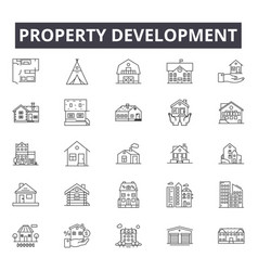 Property development line icons signs set vector