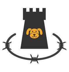 Puppycoin barbwire bulwark flat icon vector