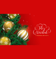 red christmas tree bauble banner in spanish vector image